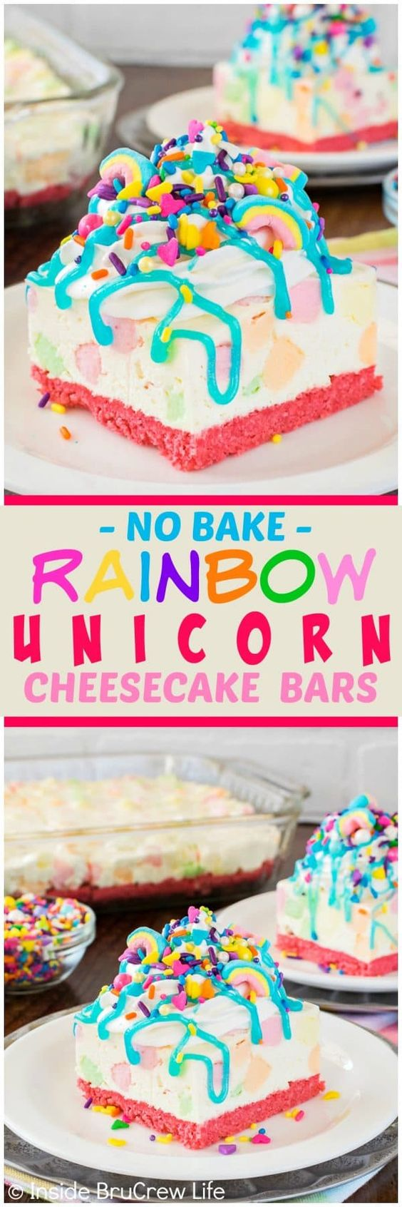Unicorn desserts for a unicorn party: No Bake Rainbow Unicorn Cheesecake Bars