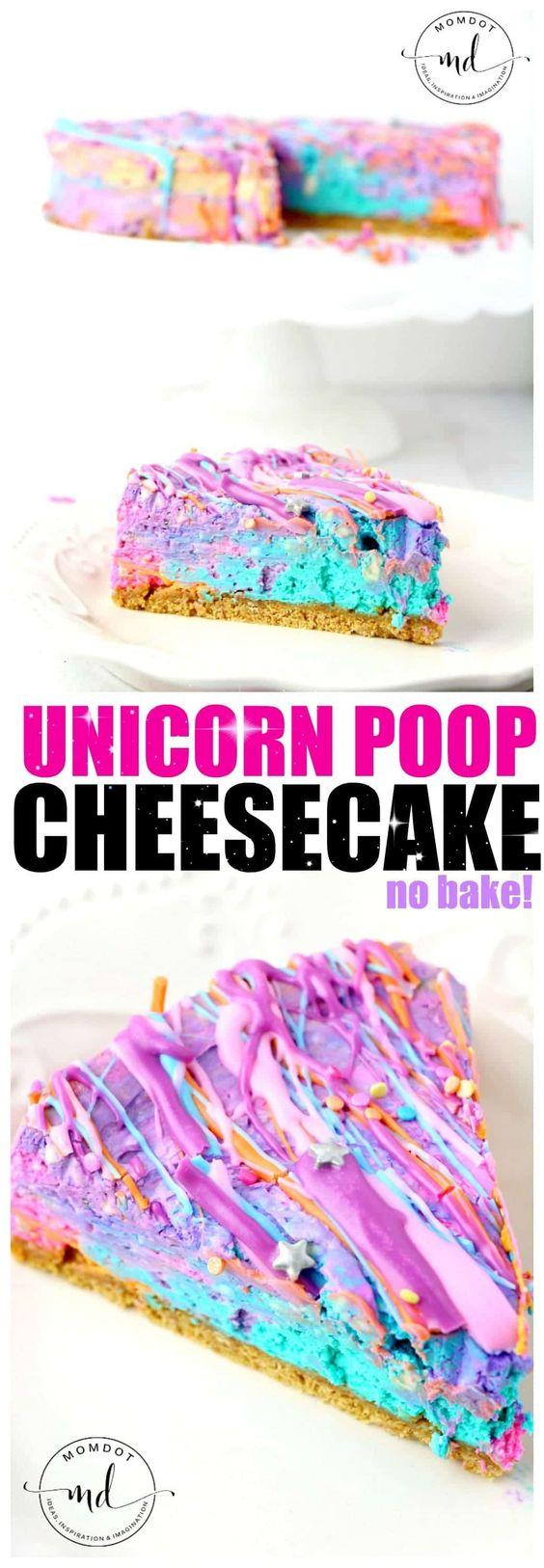 Unicorn desserts for a unicorn party: No Bake Unicorn Poop Cheesecake