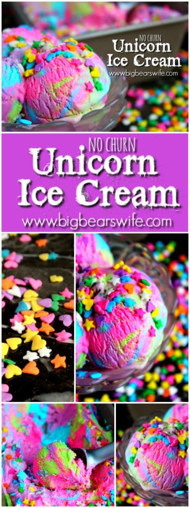 Unicorn desserts for a unicorn party: No Churn Unicorn Ice Cream