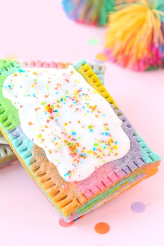 Unicorn desserts for a unicorn party: Rainbow Marbled Pop Tart Recipe