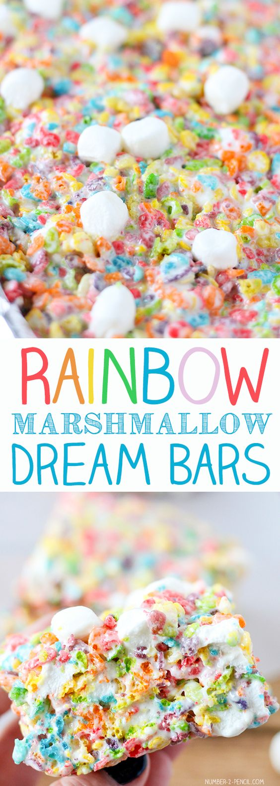 Unicorn desserts for a unicorn party: Rainbow Marshmallow Dream Bars