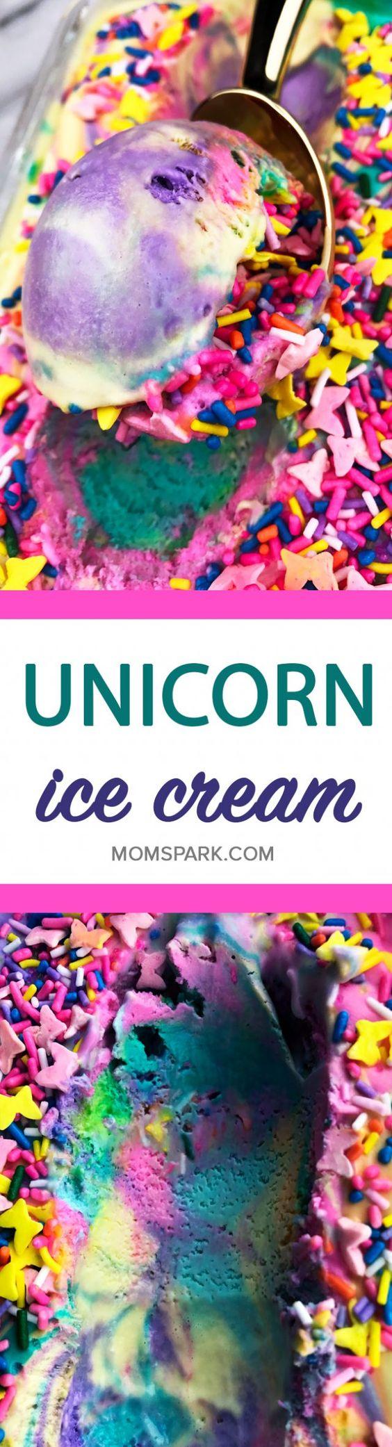 Unicorn desserts for a unicorn party: Rainbow Unicorn Ice Cream Recipe