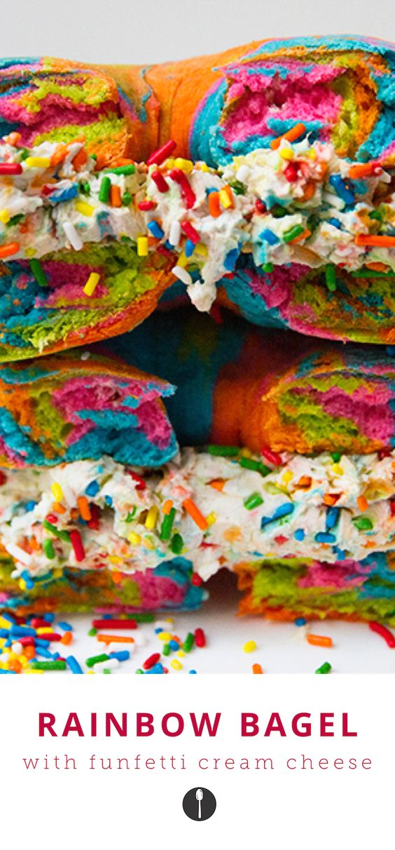 Unicorn desserts for a unicorn party: Unicorn Bagel