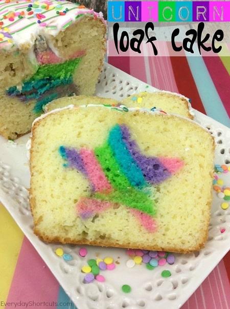 Unicorn desserts for a unicorn party: Unicorn Loaf Cake