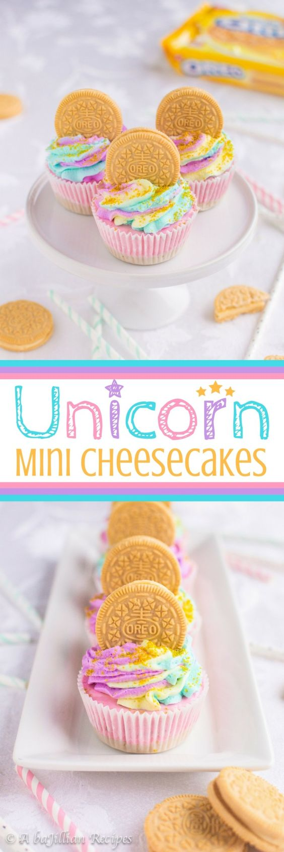 Unicorn desserts for a unicorn party: Unicorn Mini Cheesecakes