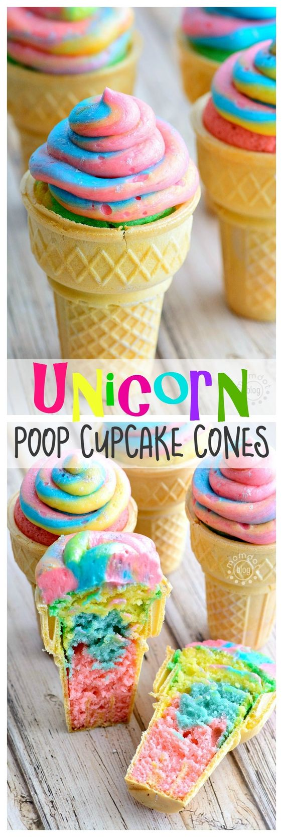 Unicorn desserts for a unicorn party: Unicorn Poop Cupcake Cones