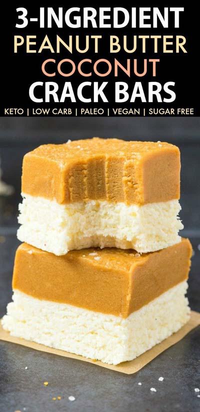 Keto snacks on the go: 3 Ingredient Peanut Butter Coconut Crack Bars