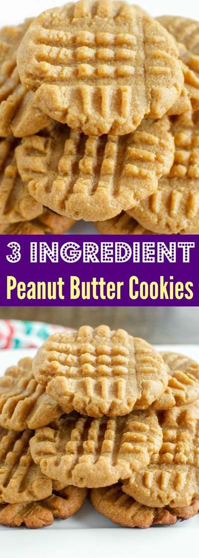 Peanut Butter Desserts: 3 Ingredient Peanut Butter Cookies