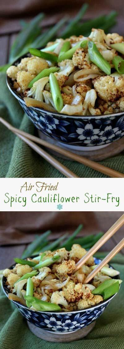 Healthy Air Fryer Recipes: Air Fried Spicy Cauliflower Stir-Fry