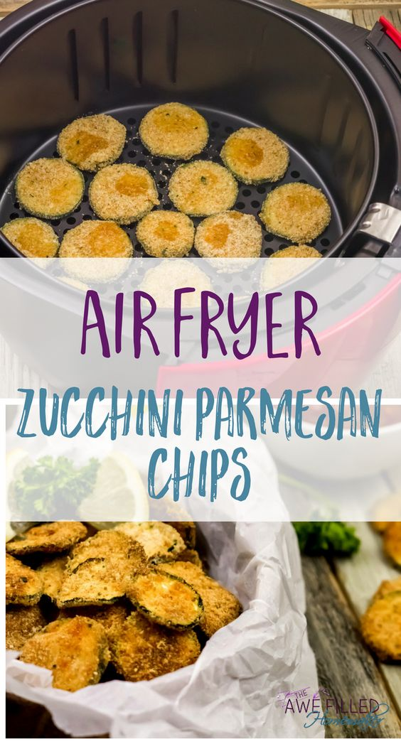 Healthy Air Fryer Recipes: Air Fryer Zucchini Parmesan Chips