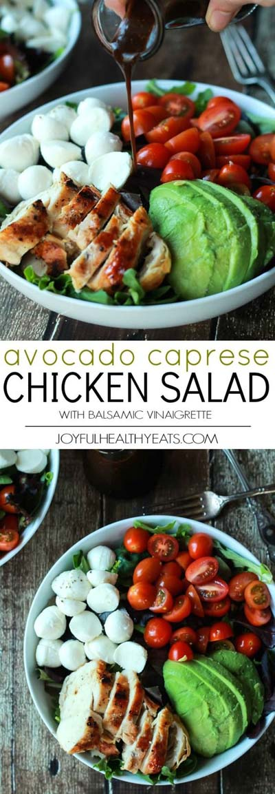 Healthy salad recipes: Avocado Caprese Chicken Salad with Balsamic Vinaigrette