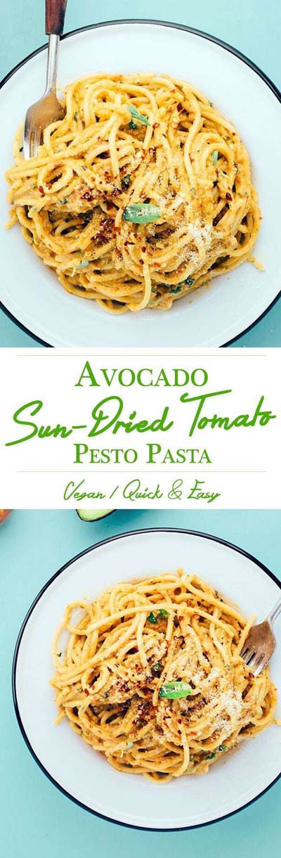 Vegan Pasta Recipes: Avocado Sun-Dried Tomato Pesto Pasta