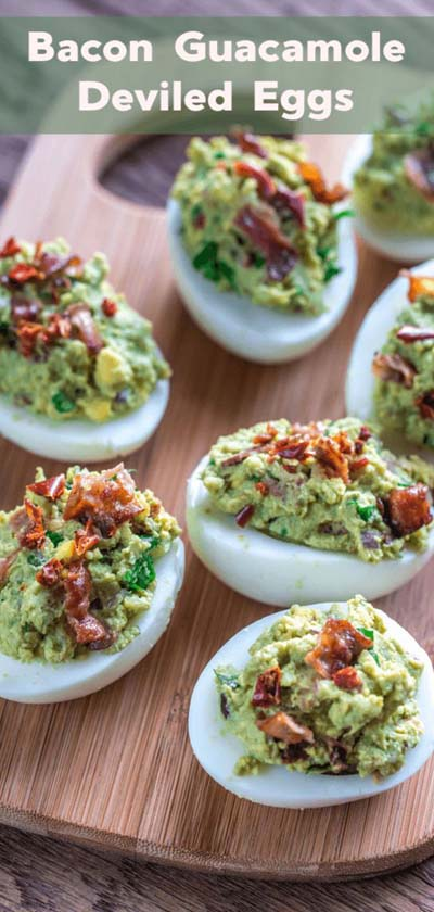 Keto snacks on the go: Bacon Guacamole Deviled Eggs
