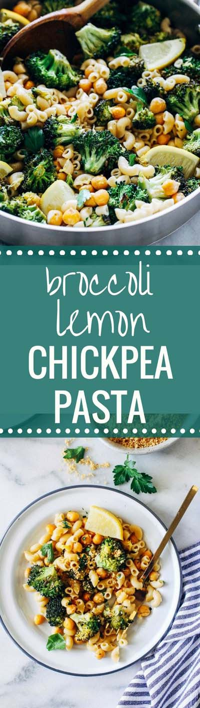 Vegan Pasta Recipes: Broccoli Lemon Chickpea Pasta