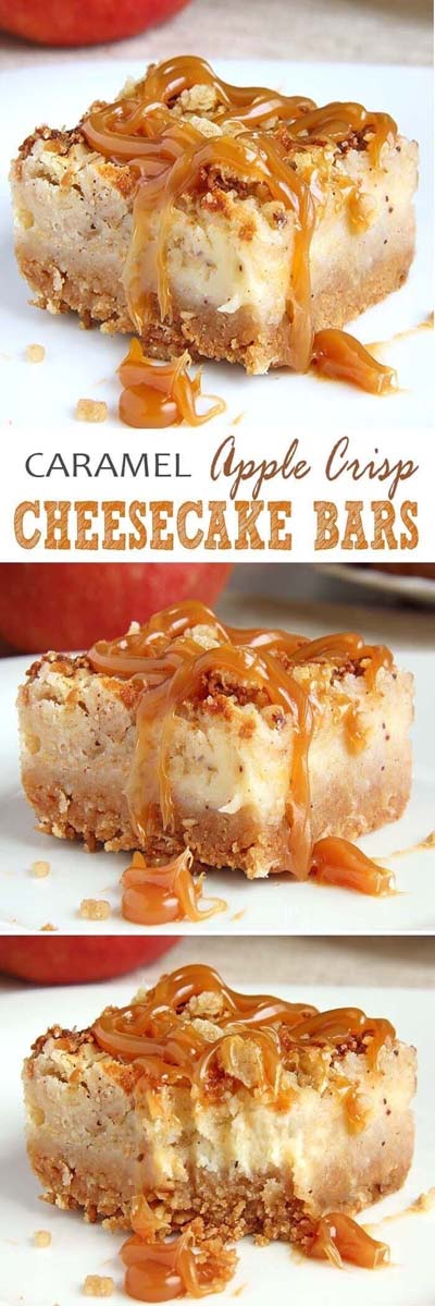 Easy caramel dessert recipes: Caramel Apple Crisp Cheesecake Bars