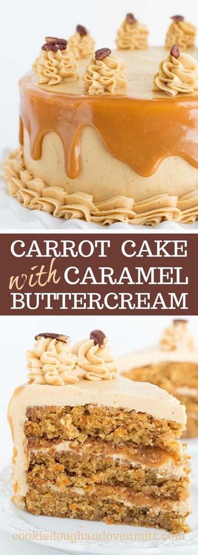 Easy caramel dessert recipes: Carrot Cake with Caramel Buttercream