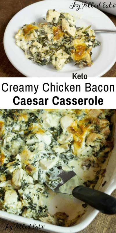 Keto Casserole Recipes: Chicken Bacon Caesar Keto Casserole