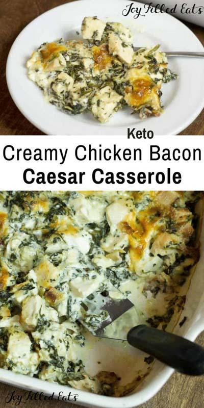 Keto Casserole Recipes: Chicken Bacon Caesar Keto Casserole