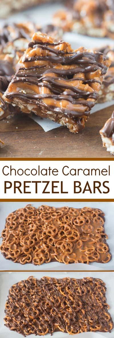 Easy caramel dessert recipes: Chocolate Caramel Pretzel Bars