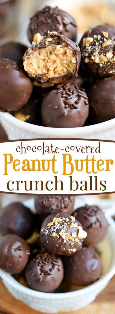 Peanut Butter Desserts: Chocolate Covered Peanut Butter Crunch Balls