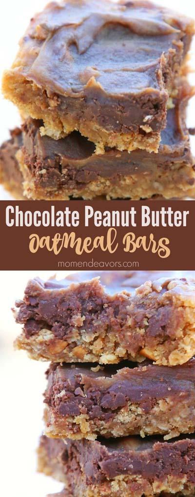 Peanut Butter Desserts: Chocolate Peanut Butter Oatmeal Bars