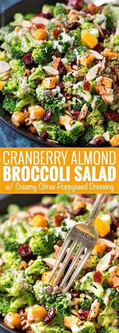 Healthy salad recipes: Cranberry Almond Broccoli Salad with Citrus Poppyseed Dressing