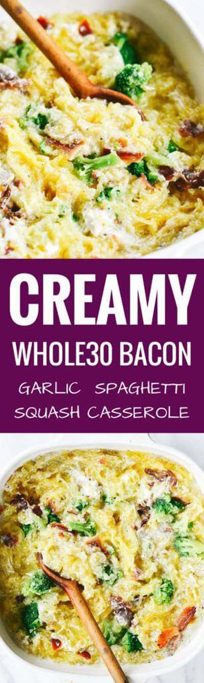 Keto Casserole Recipes: Creamy Bacon Garlic Spaghetti Squash