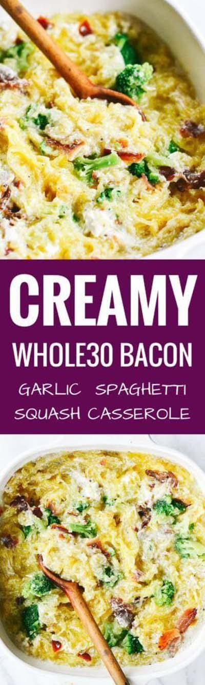Keto Casserole Recipes: Creamy Bacon Garlic Spaghetti Squash