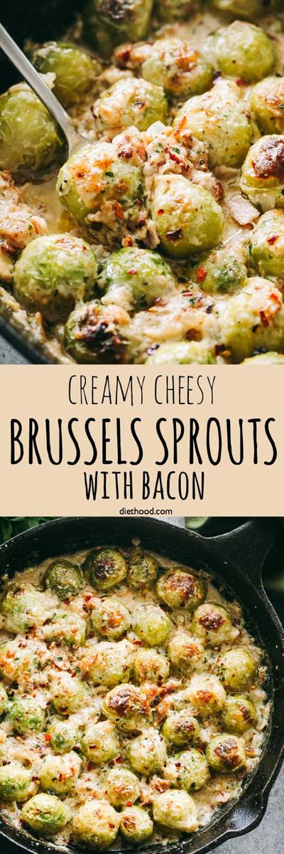 Keto Casserole Recipes: Creamy Cheesy Brussels Sprouts with Bacon