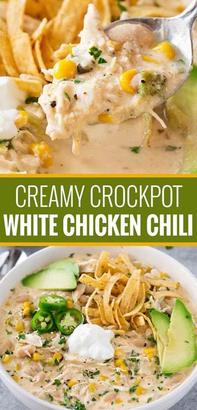 Creamy Crockpot White Chicken Chili
