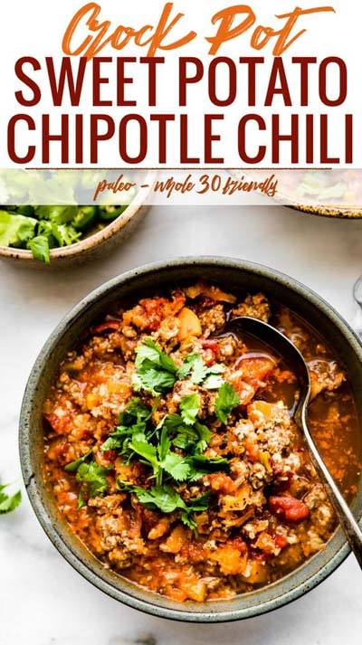 Chili Recipes: Crock Pot Sweet Potato Chipotle Chili