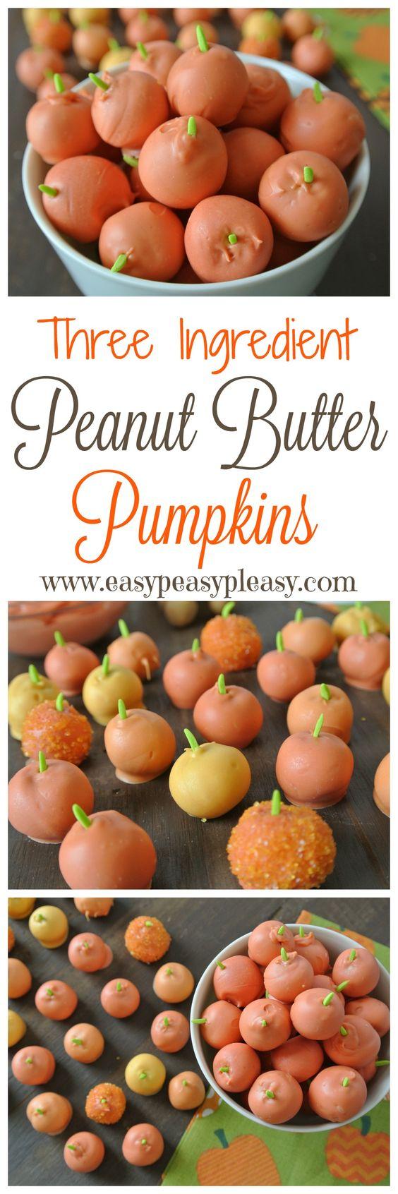 Thanksgiving Desserts: Easy 3 Ingredient Peanut Butter Pumpkins
