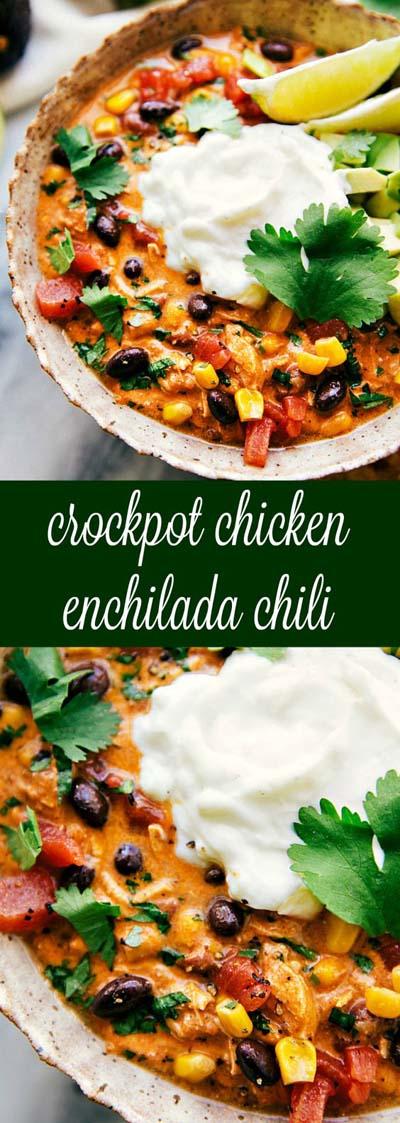 Easy Crockpot Creamy Chicken Enchilada Chili