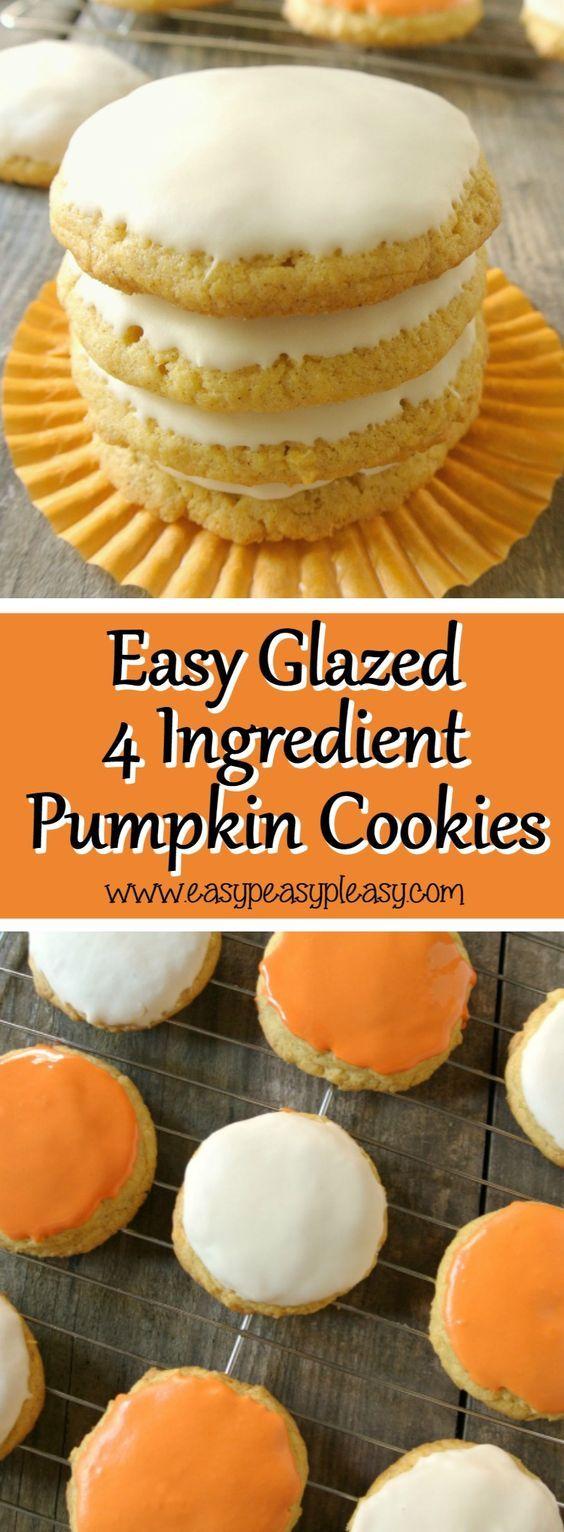 Thanksgiving Desserts: Easy Glazed 4 Ingredient Pumpkin Cookies