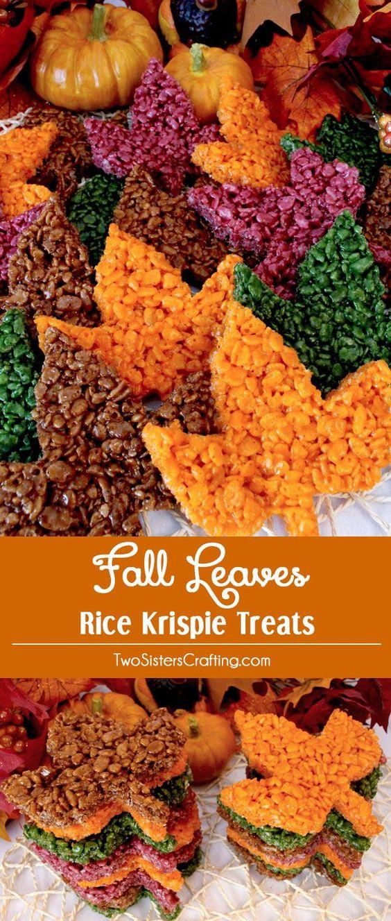Thanksgiving Desserts: Fall Leaves Rice Krispie Treats