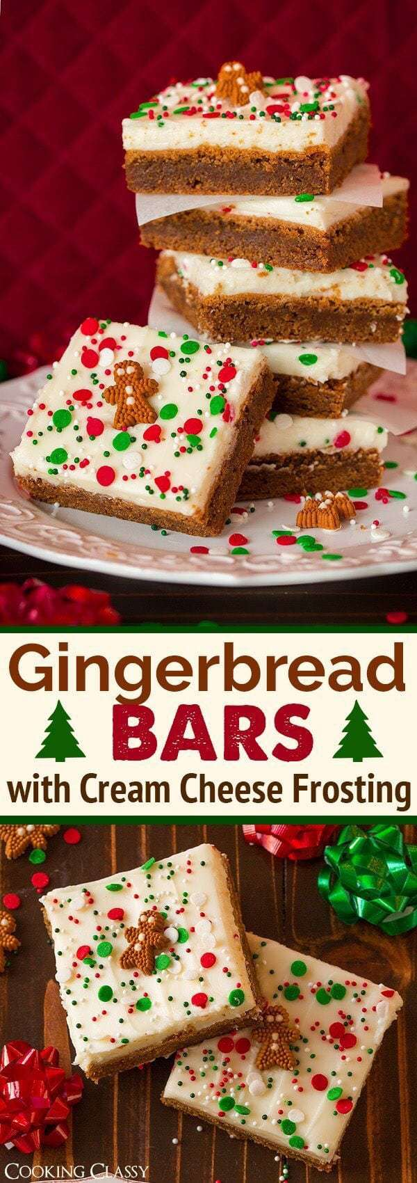 Christmas Cookies: Gingerbread Bars with Cream Cheese Frosting