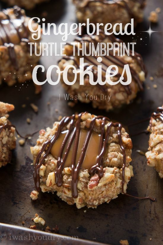 Christmas Gingerbread Recipes: Gingerbread Turtle Thumbprint Cookies