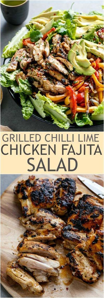 Healthy salad recipes: Grilled Chili Lime Chicken Fajita Salad