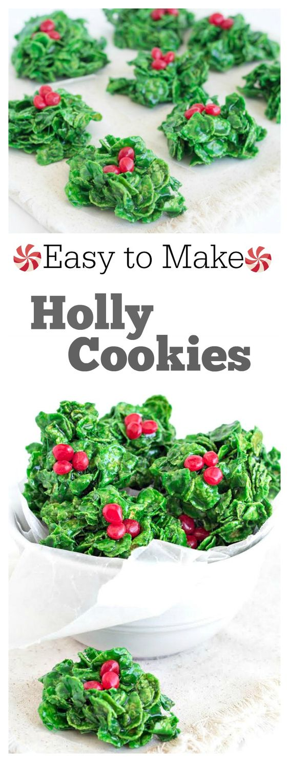 Christmas Cookies: Holly Cookies