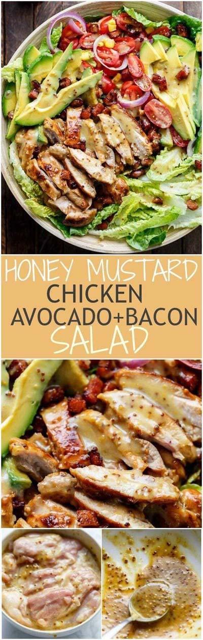 Healthy salad recipes: Honey Mustard Chicken Avocado & Bacon Salad
