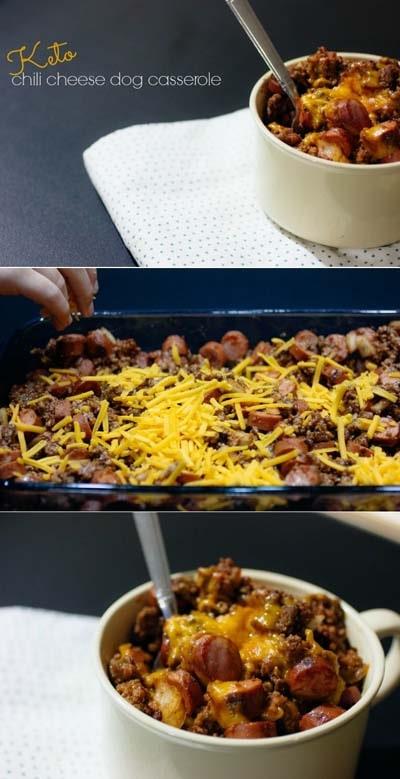 Keto Casserole Recipes: Keto Chili Cheese Dog Casserole 1