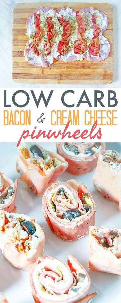Keto snacks on the go: Low Carb Pinwheels With Bacon And Cream Cheese