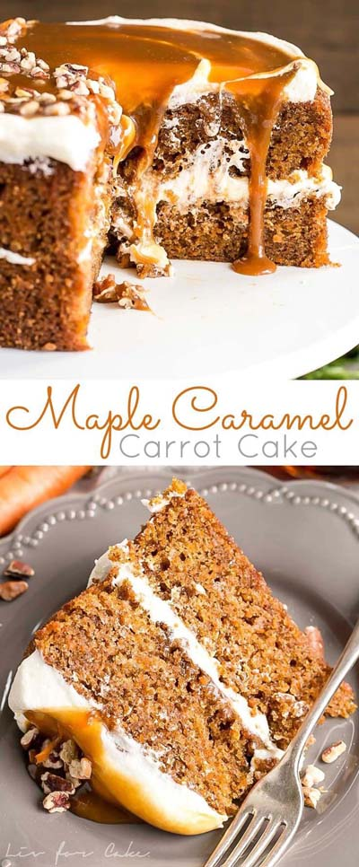 Easy caramel dessert recipes: Maple Caramel Carrot Cake
