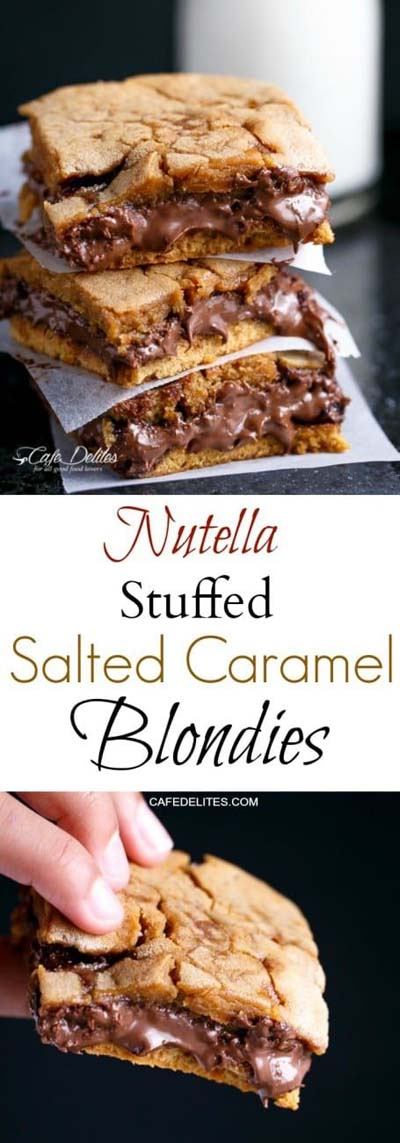 Nutella Stuffed Salted Caramel Blondies
