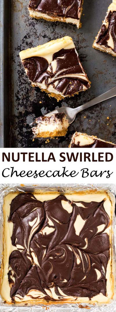 Nutella Swirled Cheesecake Bars