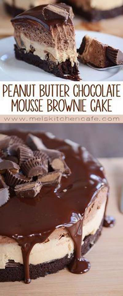 Peanut Butter Desserts: Peanut Butter Chocolate Mousse Brownie Cake