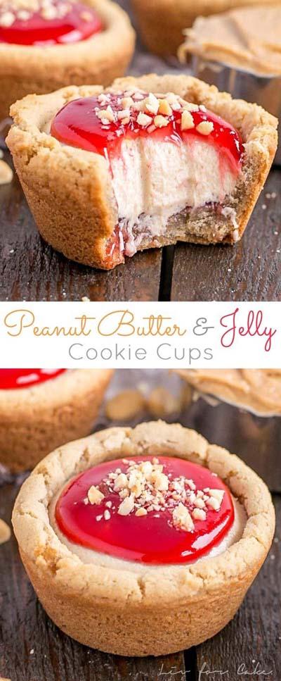 Peanut Butter Desserts: Peanut Butter & Jelly Cookie Cups