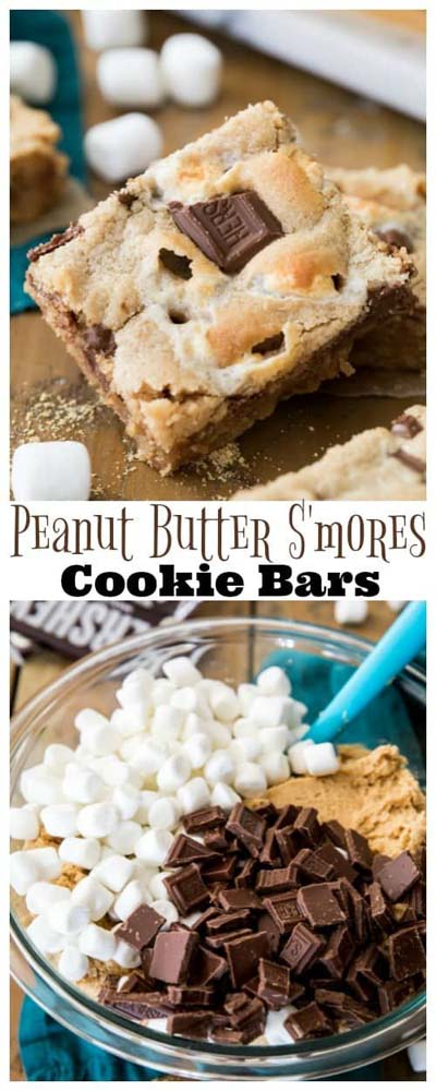 Peanut Butter Desserts: Peanut Butter S'mores Cookie Bars-min