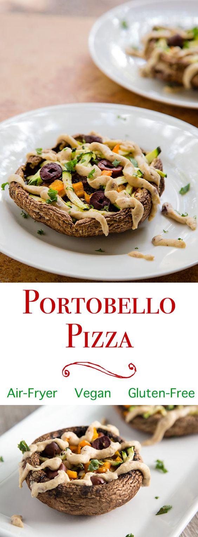 Healthy Air Fryer Recipes: Portobello Mushroom Pizzas with Hummus