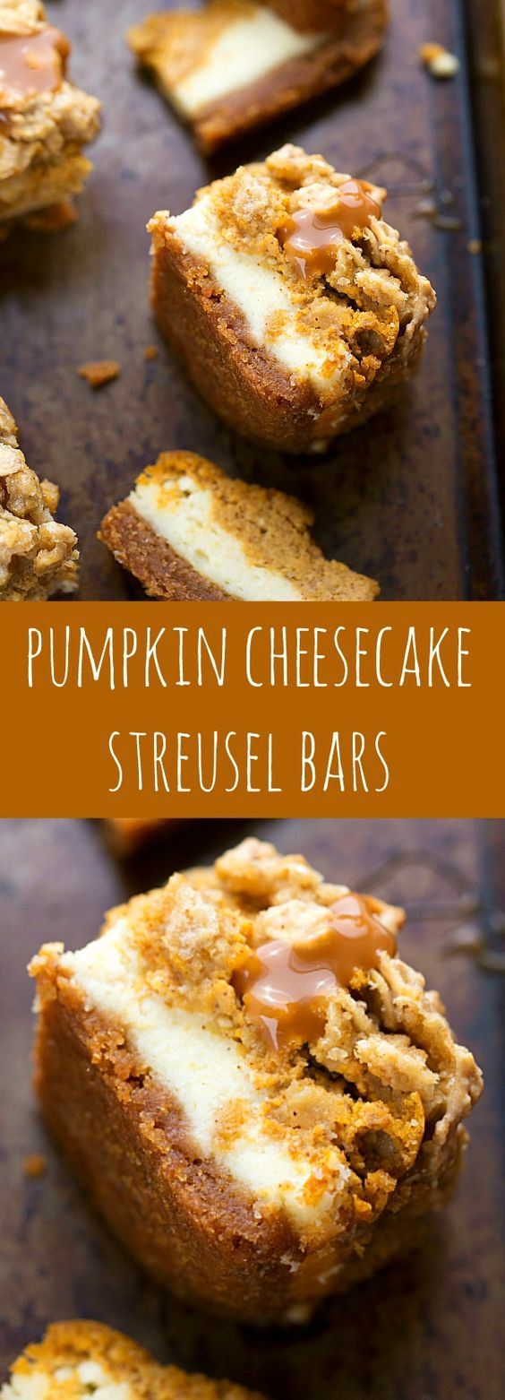 Thanksgiving Desserts: Pumpkin Cheesecake Bars With A Streusel Topping